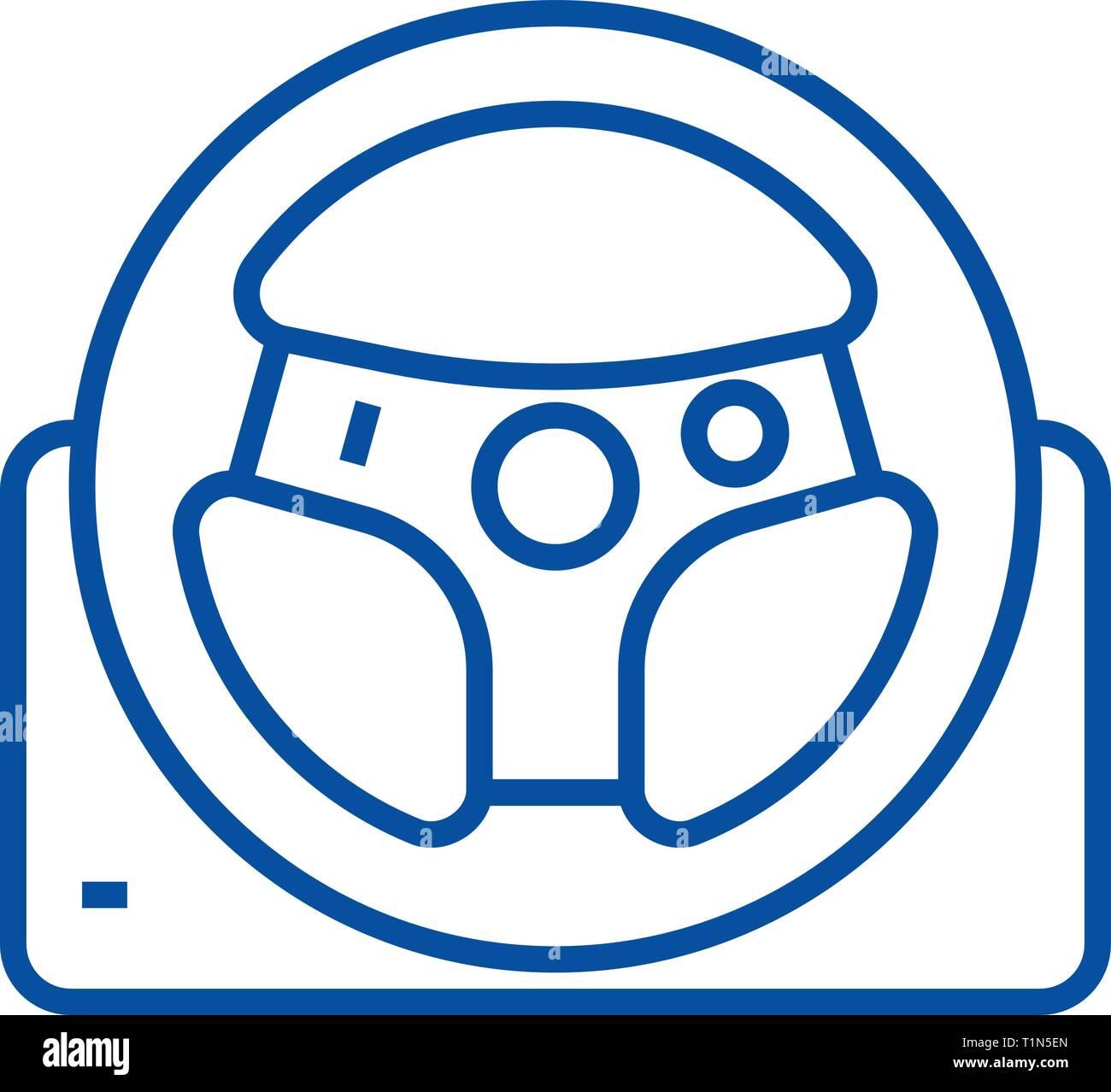 Helm line icon concept. Helm flat  vector symbol, sign, outline illustration. - Stock Image