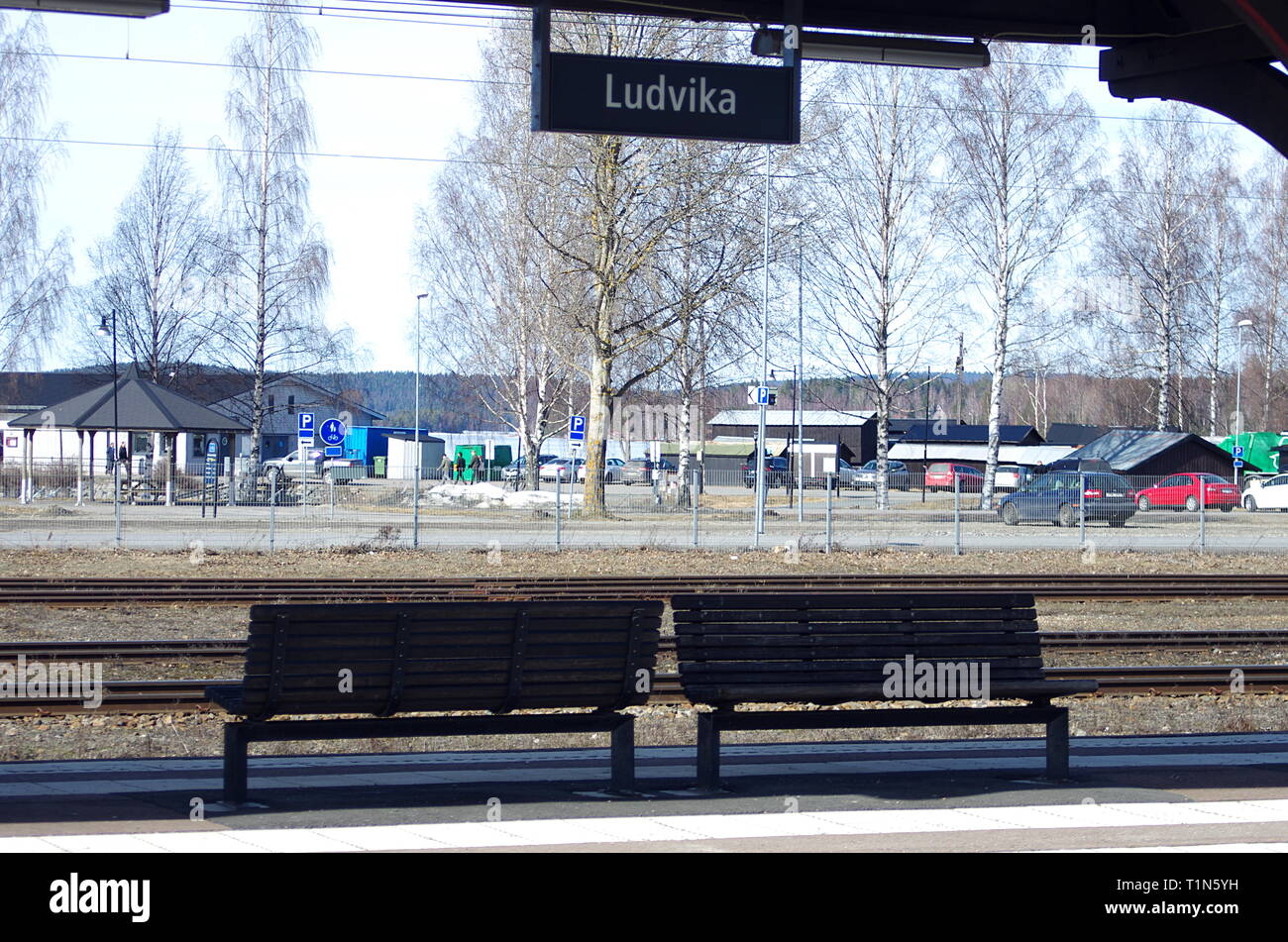 The town of Ludvika in Dalarna on a sunny spring day - Stock Image
