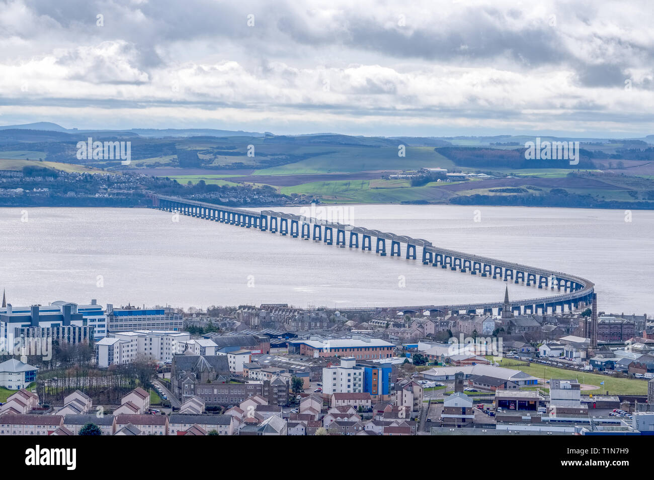 From the monument at Dundee law Hill looking down over the city to the Fourth or Tay Railway Bridge Dundee Scotland - Stock Image
