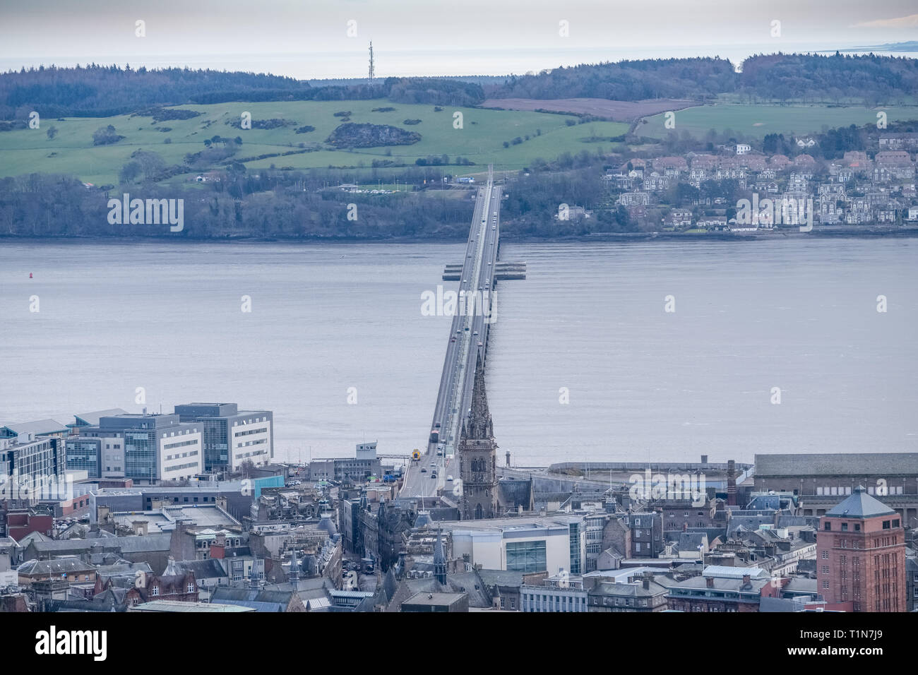 From the monument at Dundee law Hill looking down over the city to the Fourth or Tay Road Bridge Dundee Scotland. - Stock Image