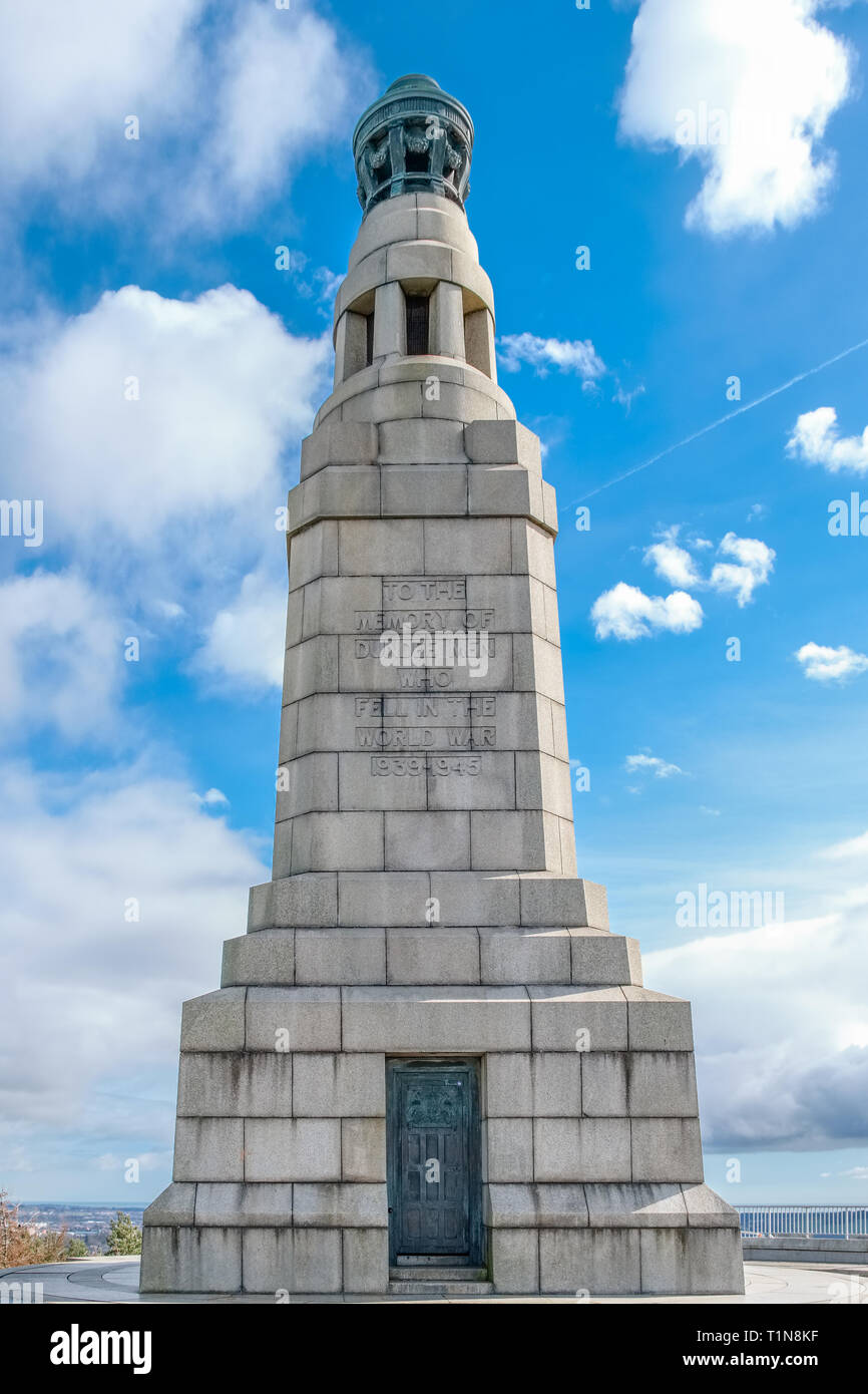 Dundee, Scotland, UK - March 21, 2019: The memorial situated at Dundee Law the highest point in the city of Dundee in Scotland. - Stock Image