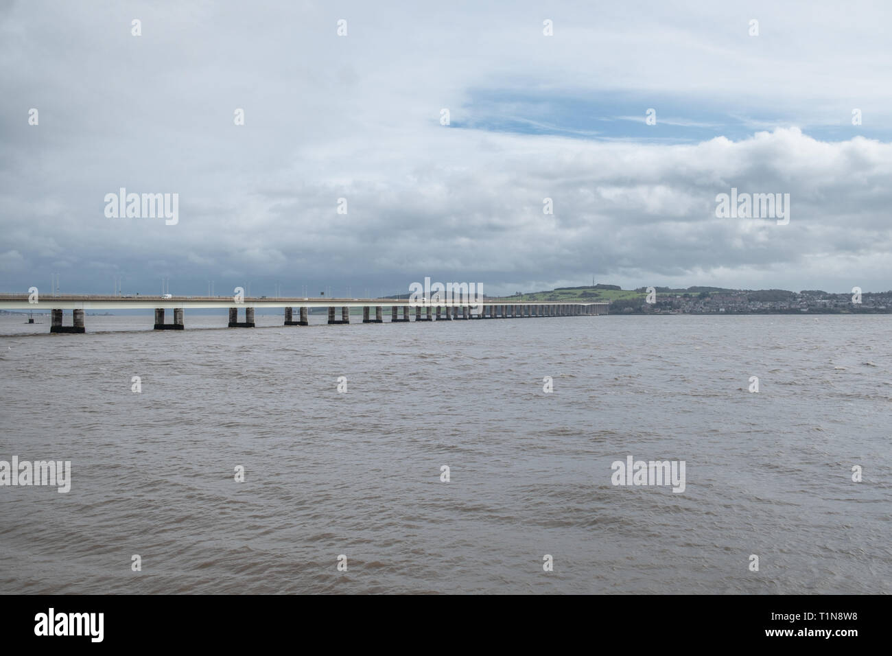 The Tay Road Bridge carries the A92 road across the Firth of Tay from Newport-on-Tay in Fife to Dundee - Stock Image