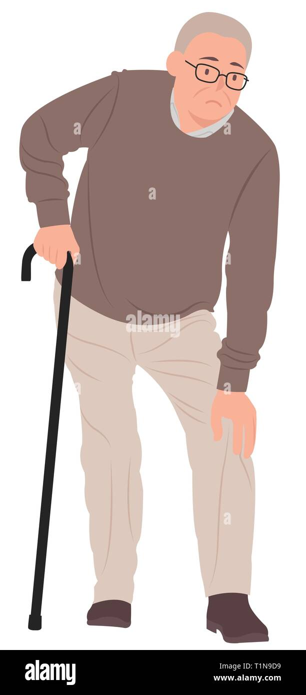 Cartoon People Character Design Senior Man Having A Knee Pain And Standing With A Walking Cane Ideal For Both Print And Web Design Stock Vector Image Art Alamy