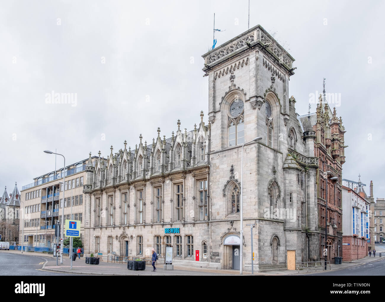 Dundee, Scotland, UK - March 22, 2019: The impressive architecture at Panmure Street & Meadowside in the City Centre of Dundee in Scotland - Stock Image