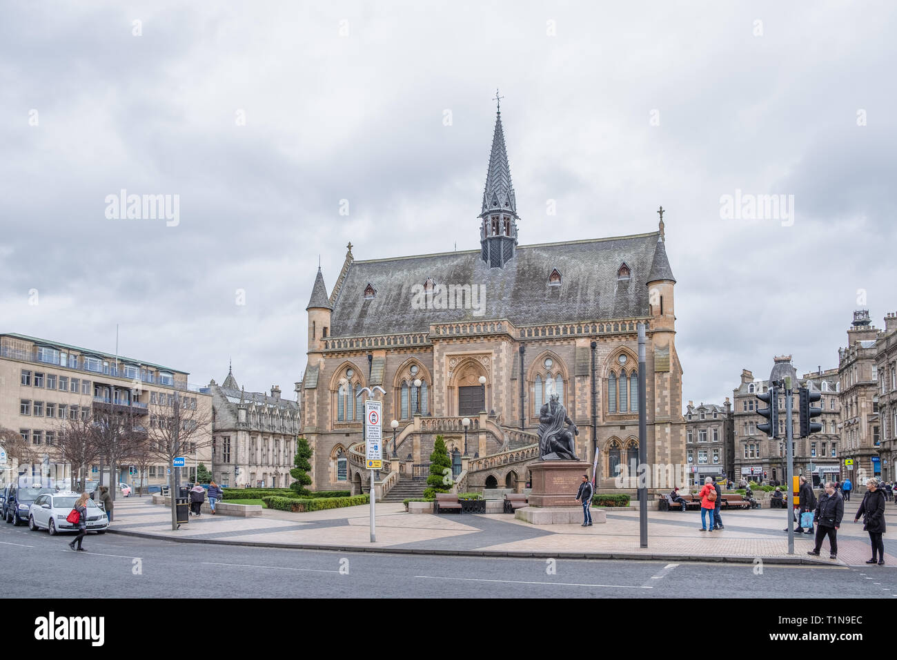 Dundee, Scotland, UK - March 22, 2019: The impressive architecture of the McManus Galleries at the top of Commercial Street Dundee Scotland - Stock Image