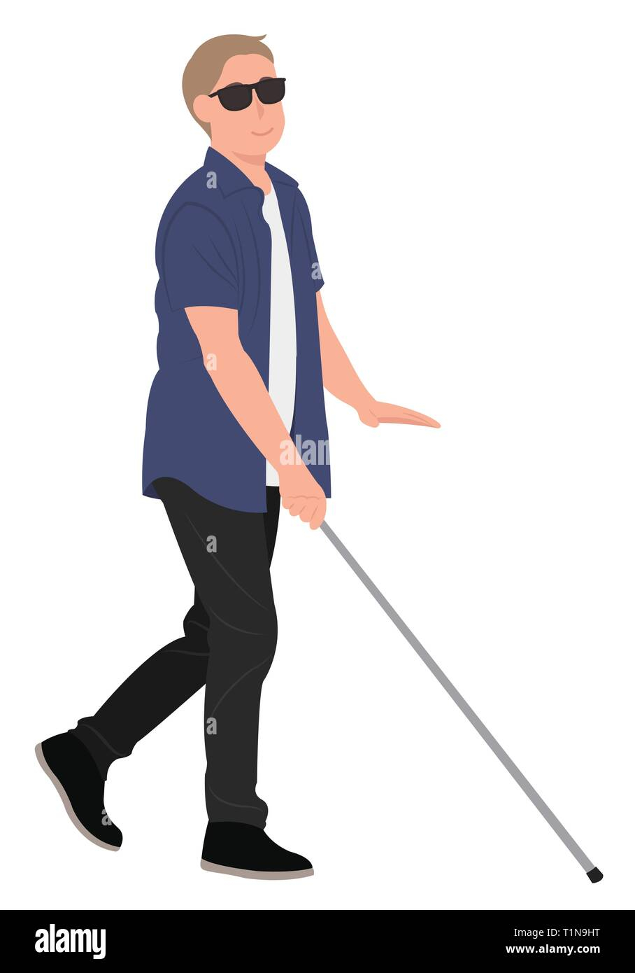Cartoon People Character Design Blind Young Man Walk With A Walking Cane Ideal For Both Print And Web Design Stock Vector Image Art Alamy