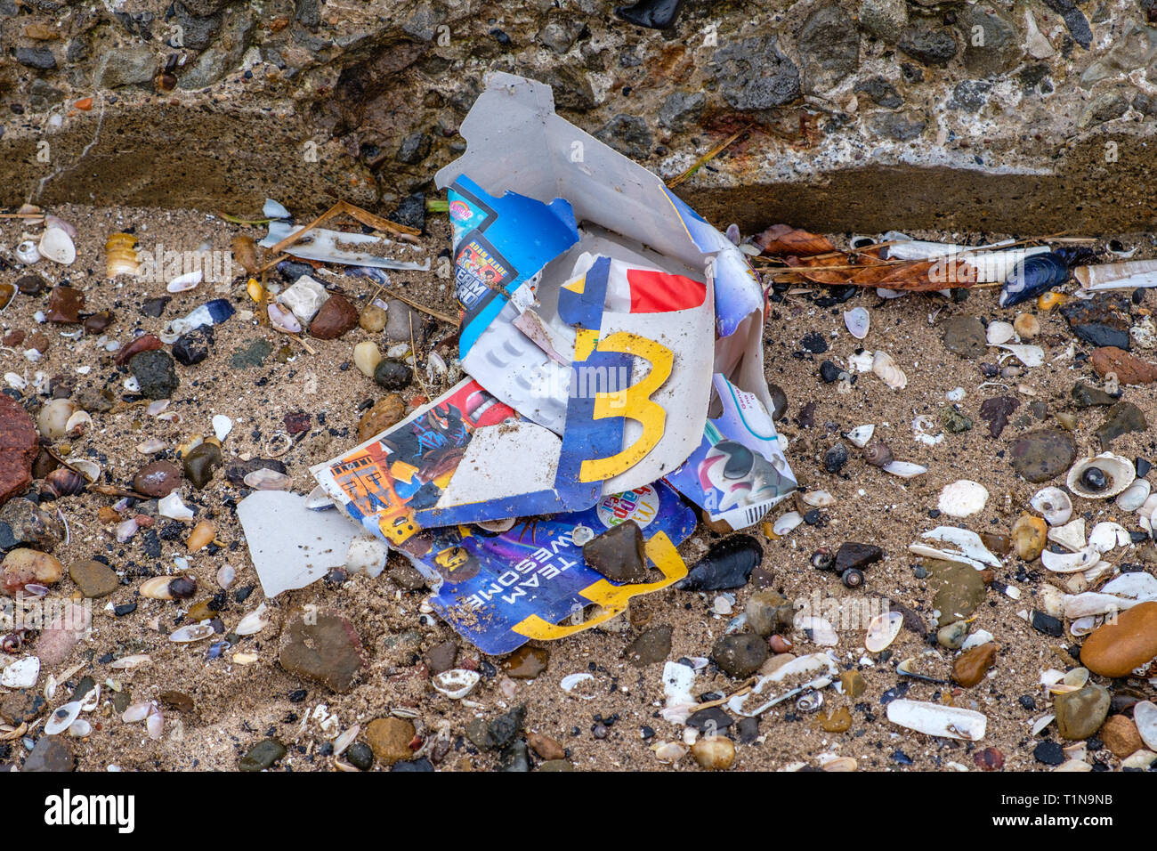 Irvine, Scotland, UK - March 18, 2019: Environmental image of Waste with some cardboard from McDonalds and plastic waste being discarded on the beach  - Stock Image