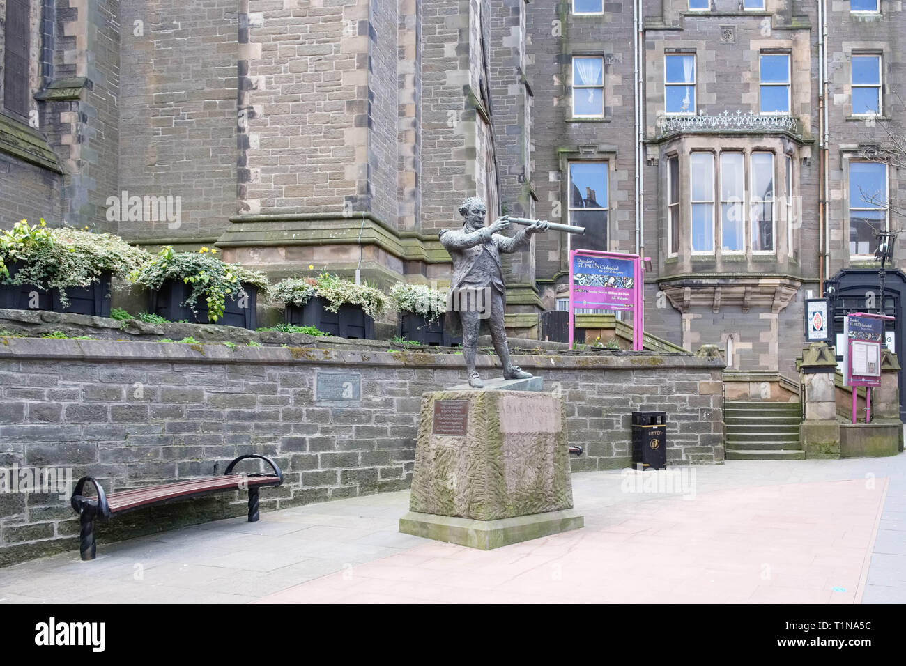 Dundee, Scotland, UK - March 23, 2019: The statue of Adam Duncan and famous Dundee figure responsible for defeating the dutch in a famous sea battle.  - Stock Image