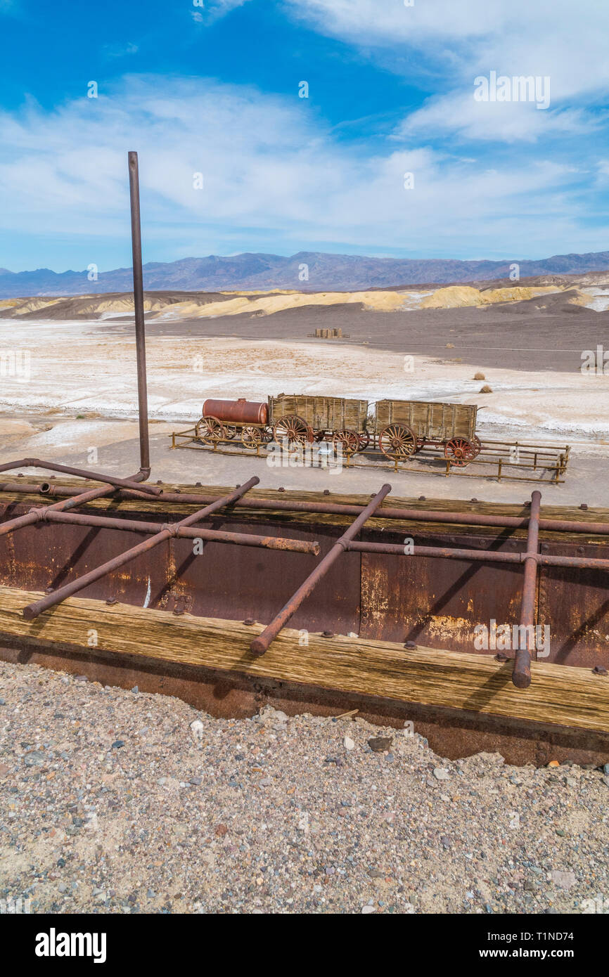The Harmony Borax Works is located in Death Valley at Furnace Creek Springs, then called Greenland. It is now located within Death Valley National Par Stock Photo