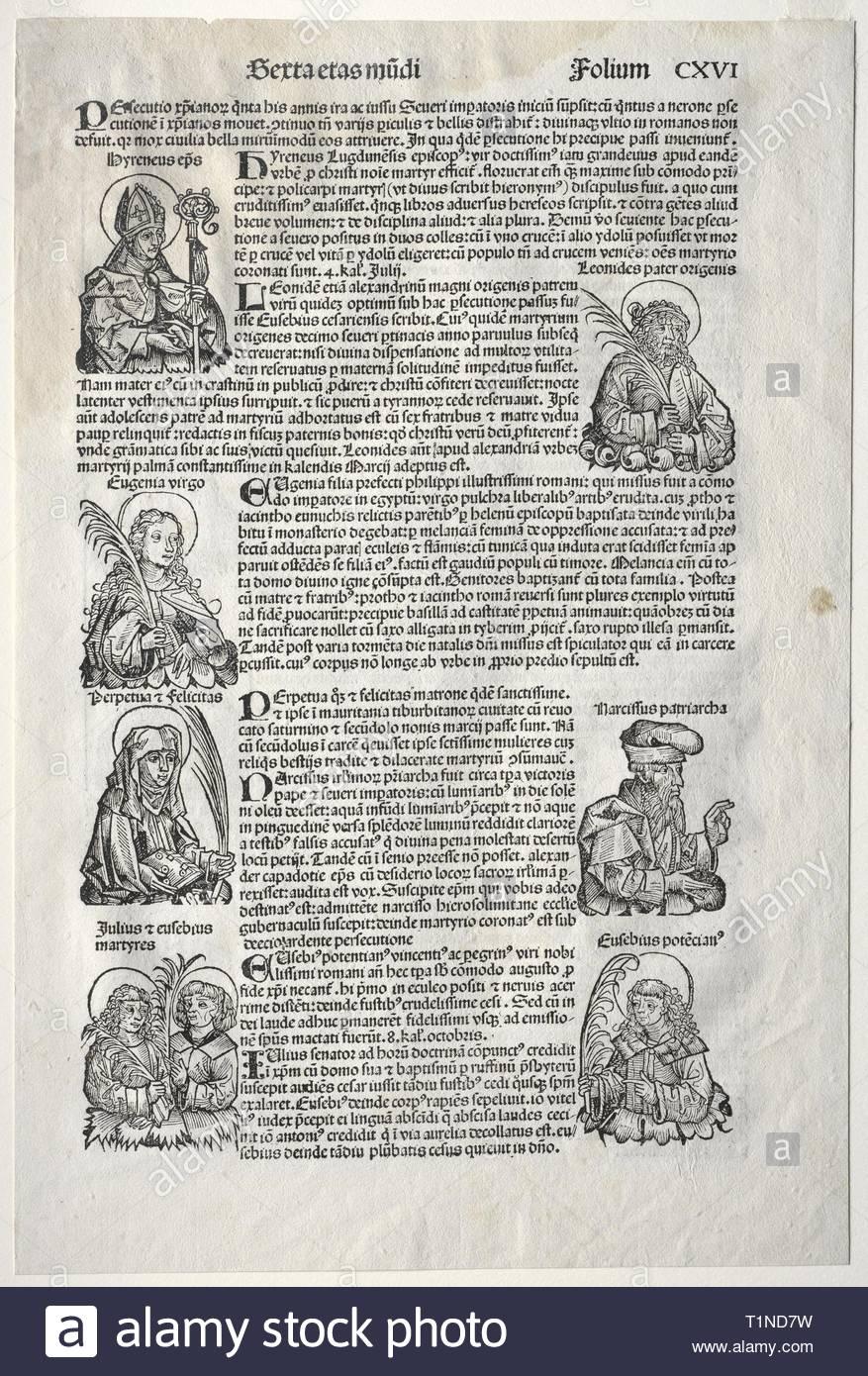Nuremberg Chronicle, 1493. Michael Wolgemut (German, 1434-1519). Woodcut. - Stock Image