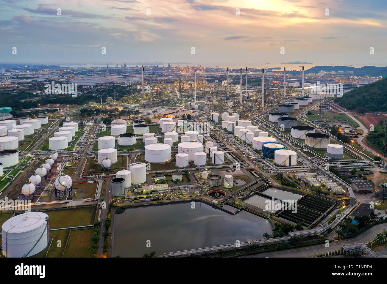 Aerial view of Oil and gas industry - refinery at twilight Stock Photo