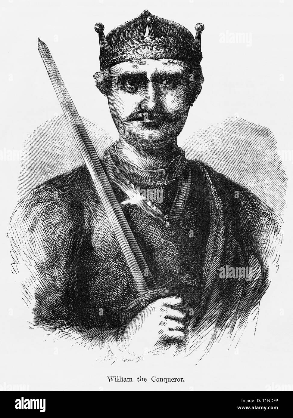 William the Conqueror, Illustration from John Cassell's Illustrated History of England, Vol. I from the earliest period to the reign of Edward the Fourth, Cassell, Petter and Galpin, 1857 Stock Photo