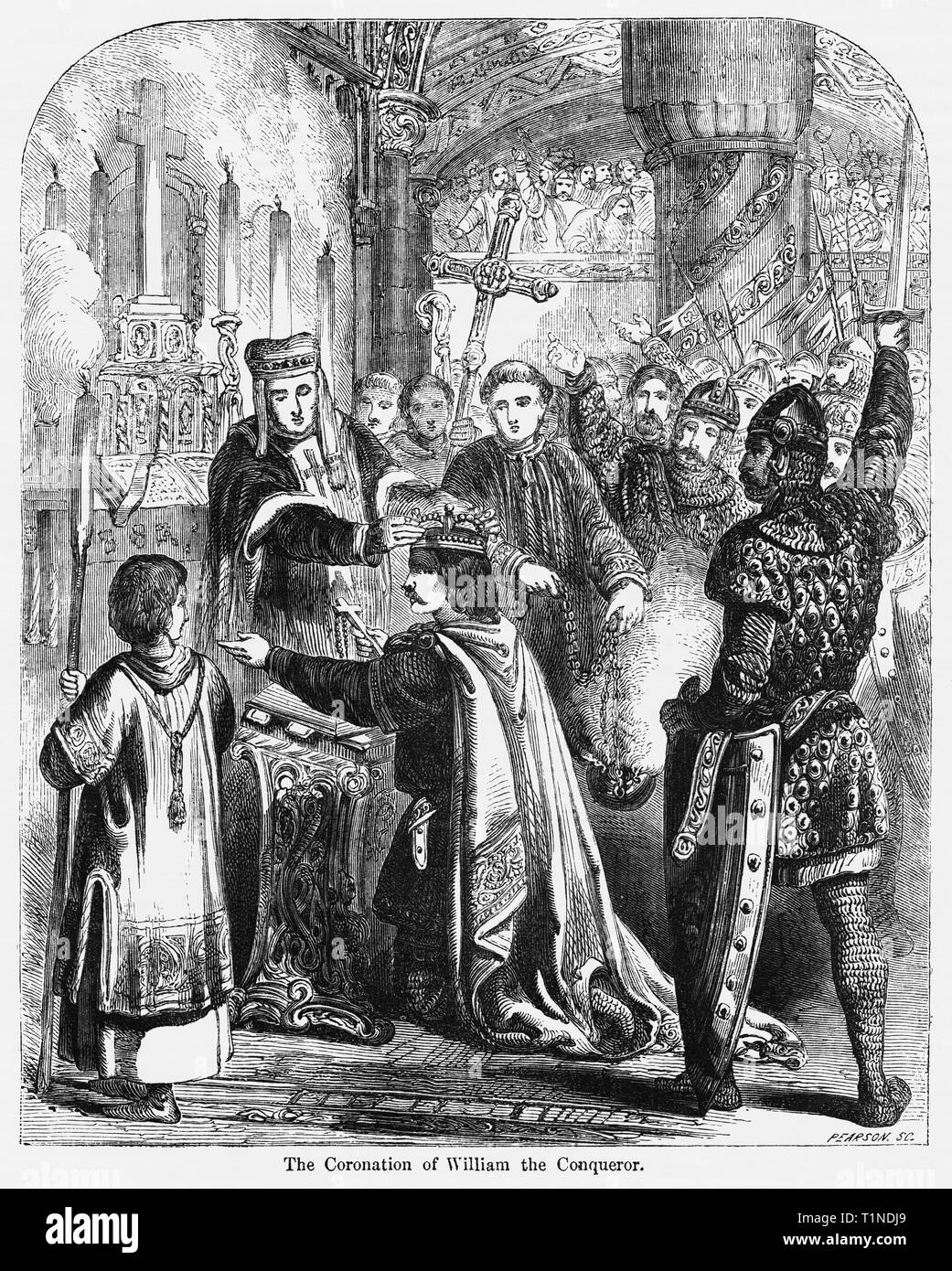 The Coronation of William the Conqueror, Illustration from John Cassell's Illustrated History of England, Vol. I from the earliest period to the reign of Edward the Fourth, Cassell, Petter and Galpin, 1857 - Stock Image