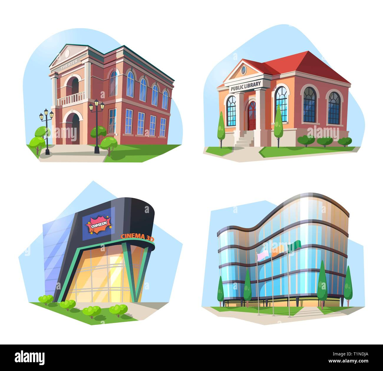 Cinema and library, modern building and theater. - Stock Image