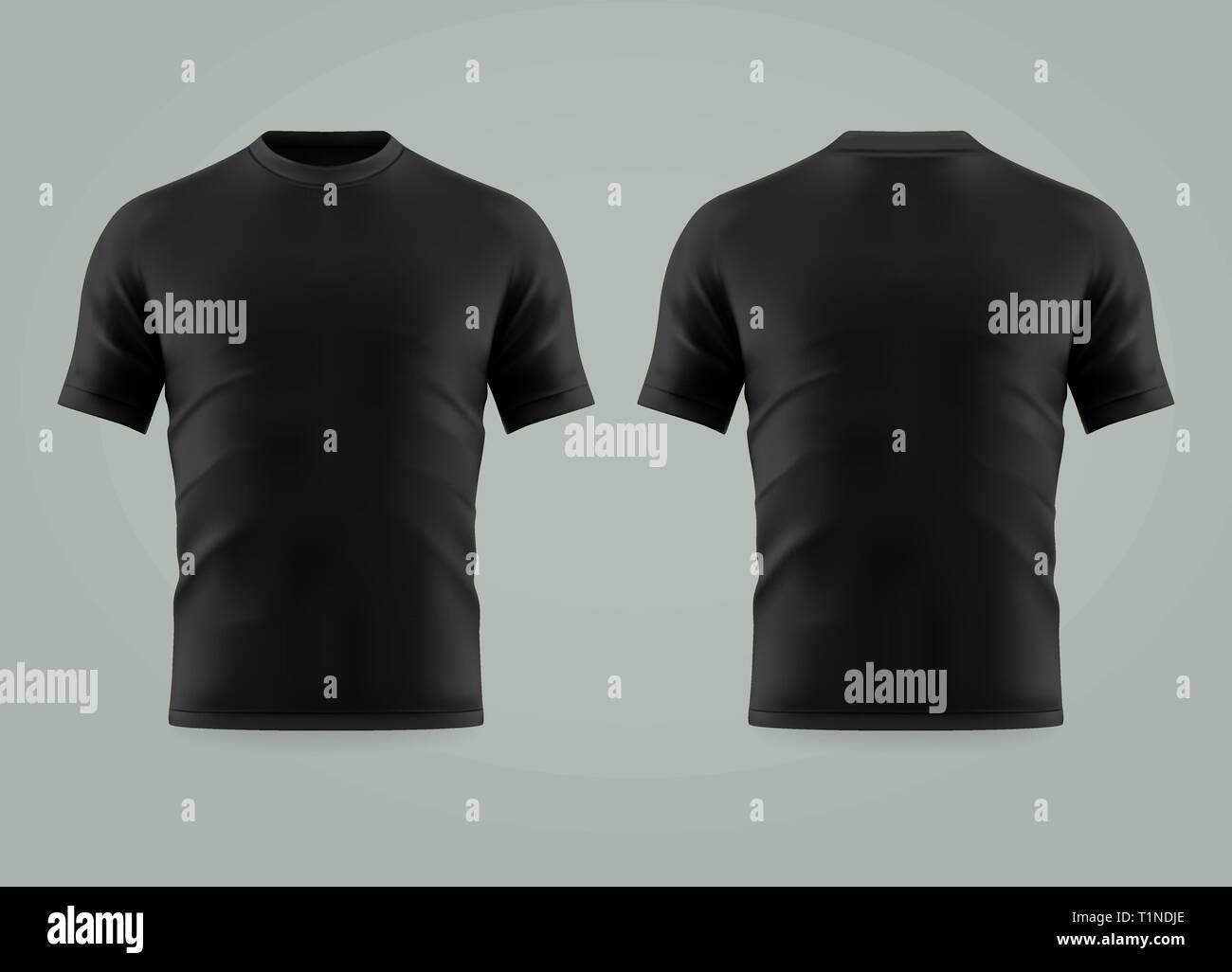 e3a8a1a40 3d or realistic black t-shirt or shirt wear Stock Vector Art ...