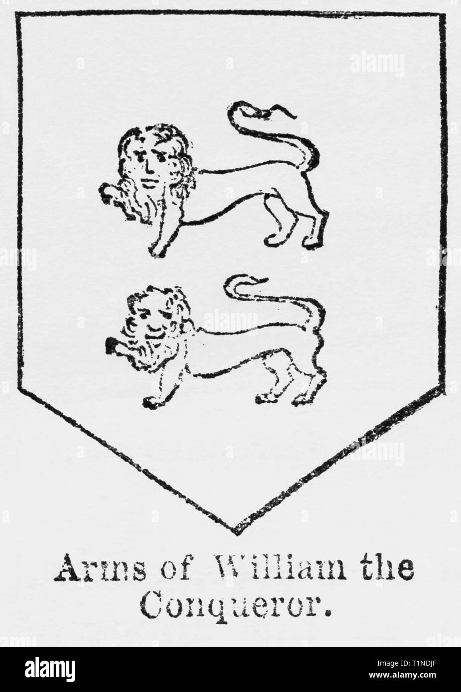 Arms of William the Conqueror, Illustration from John Cassell's Illustrated History of England, Vol. I from the earliest period to the reign of Edward the Fourth, Cassell, Petter and Galpin, 1857 - Stock Image