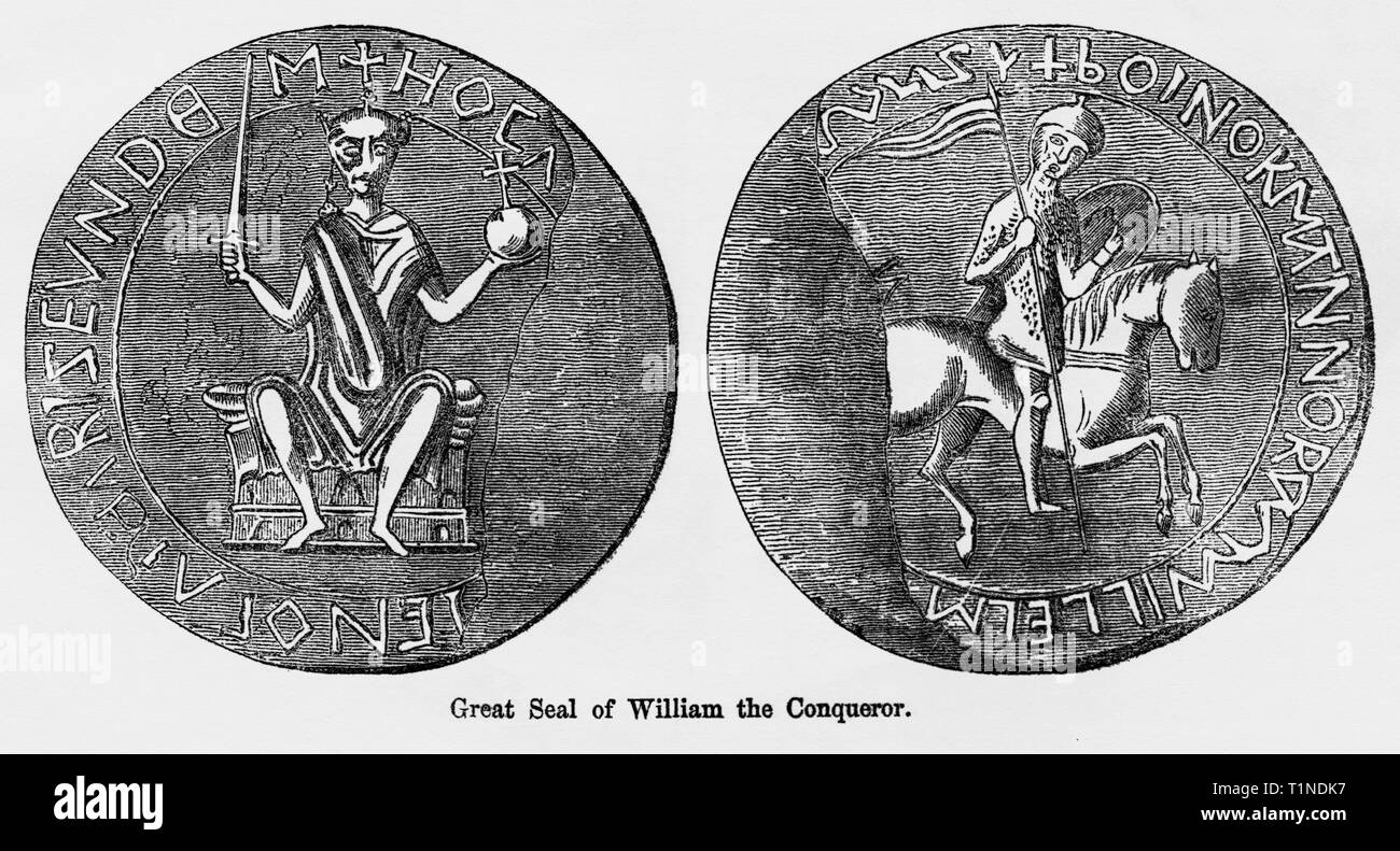 Great Seal of William the Conqueror, Illustration from John Cassell's Illustrated History of England, Vol. I from the earliest period to the reign of Edward the Fourth, Cassell, Petter and Galpin, 1857 - Stock Image