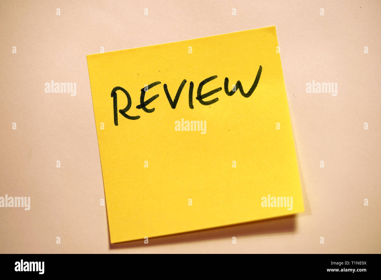 Yellow Sticky Note Scrum Agile Review - Stock Image