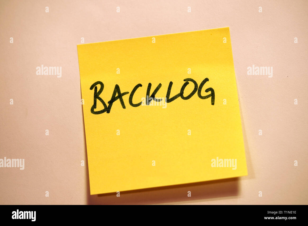Yellow Sticky Note Scrum Agile Backlog - Stock Image