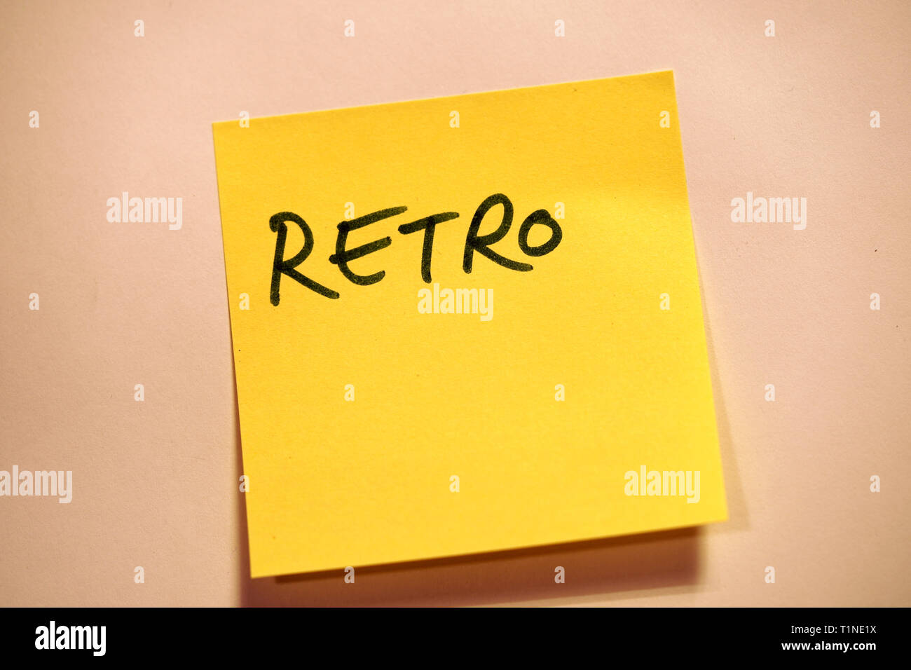 Yellow Sticky Note Scrum Agile Retro - Stock Image