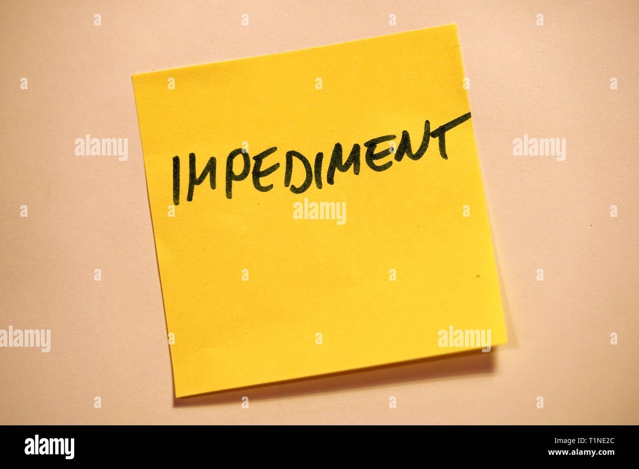 Yellow Sticky Note Scrum Agile Impediment - Stock Image