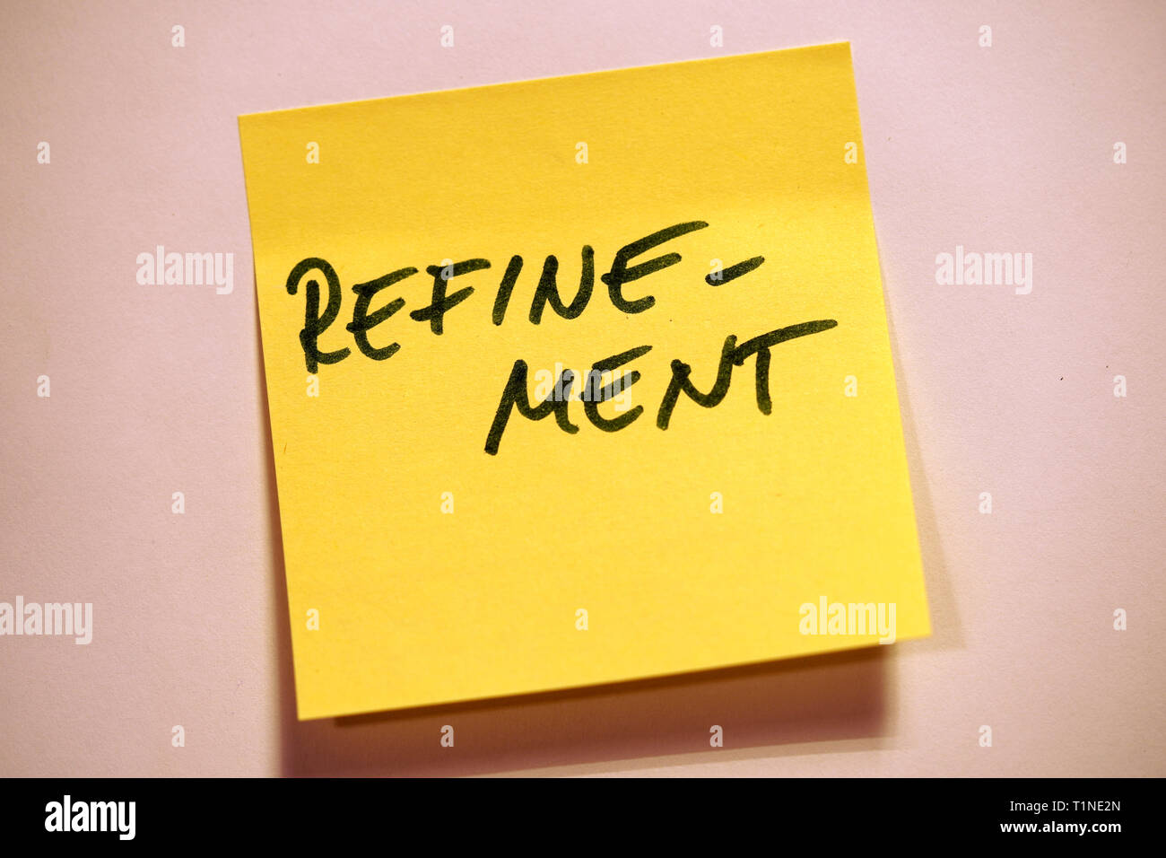 Yellow Sticky Note Scrum Agile Refinement - Stock Image