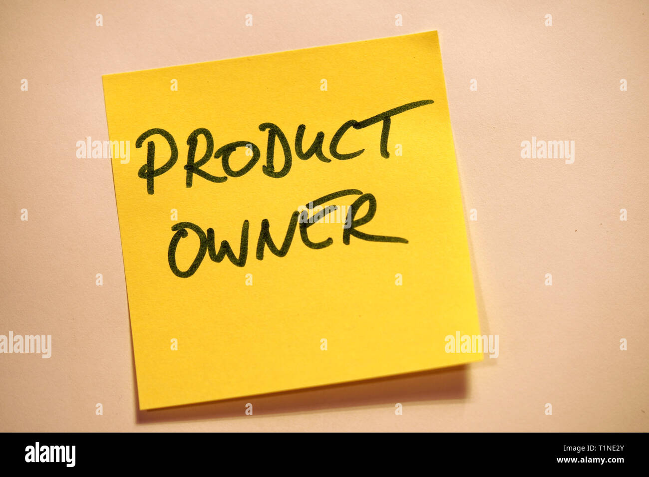 Yellow Sticky Note Scrum Agile Product Owner - Stock Image