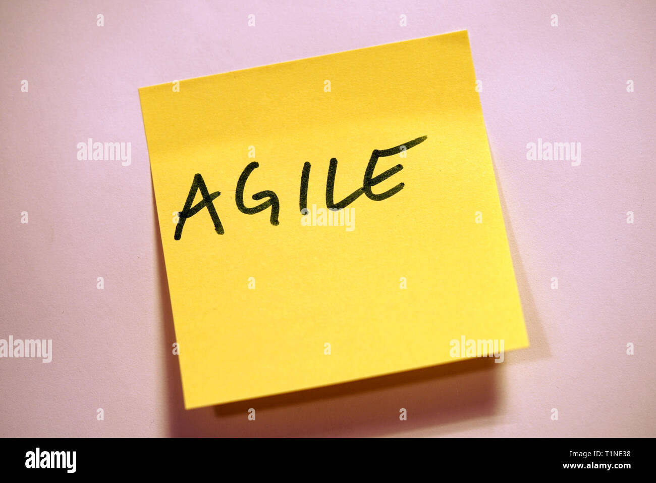 Yellow Sticky Note Scrum Agile - Stock Image