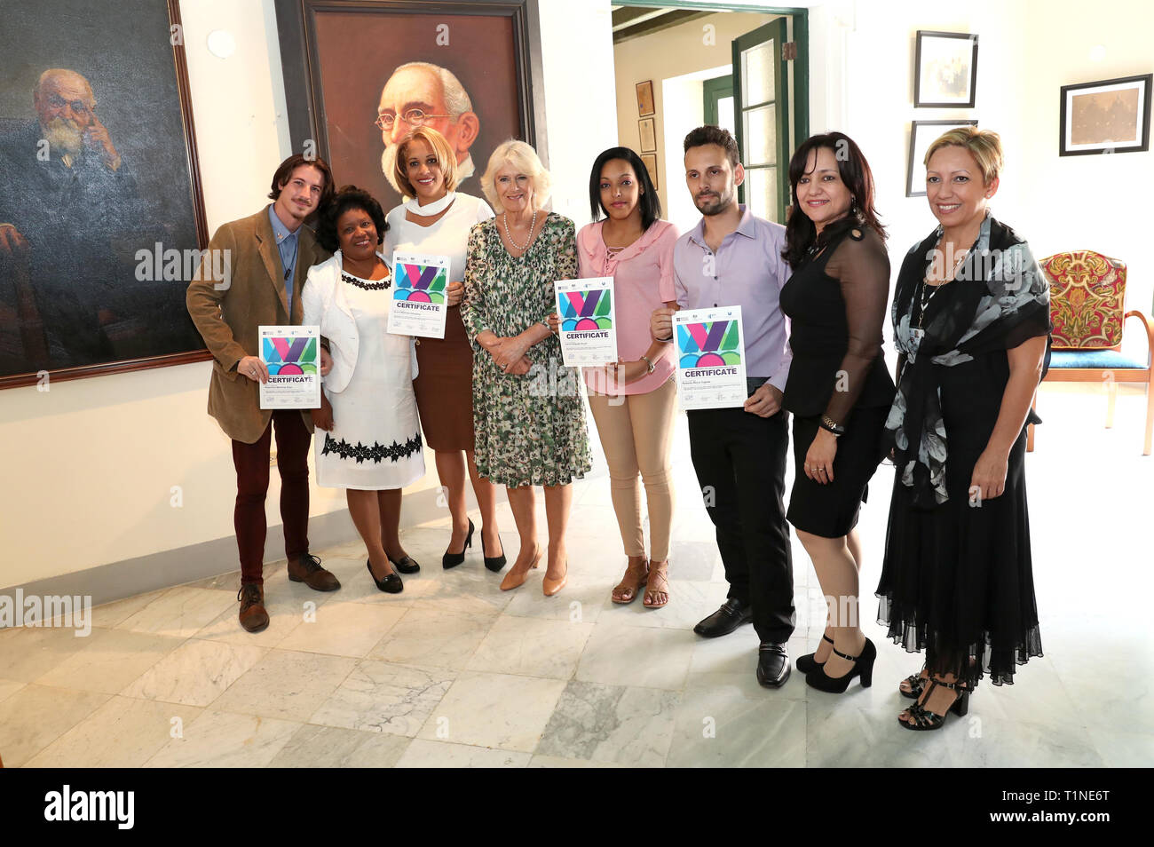 The Duchess of Cornwall meets organisers and winners of the English language essay competition 'Bridges between Cuba and the UK' ahead of a reception at the Palacio de los Capitanes Generales in Havana, Cuba. - Stock Image