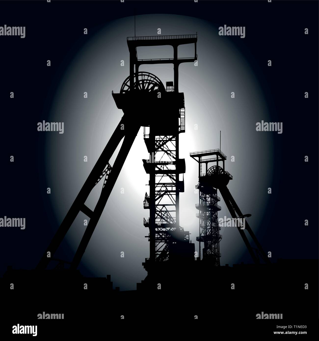 Winding towers at the black night and depression - Stock Vector