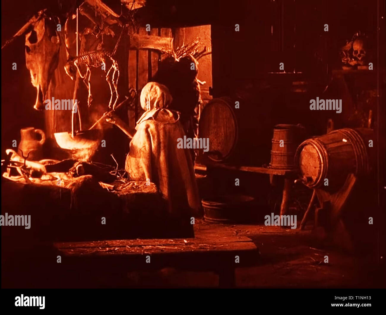 A witch's brew vintage witches den and spell potion concoction - Stock Image