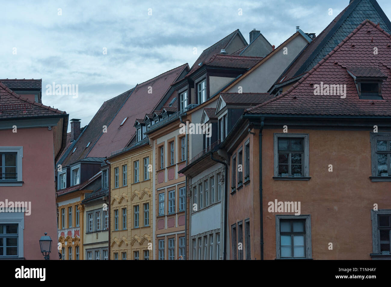 The historic old town of Bamberg with baroque architecture and iconic wood-framed houses - Bavaria, Germany - Stock Image