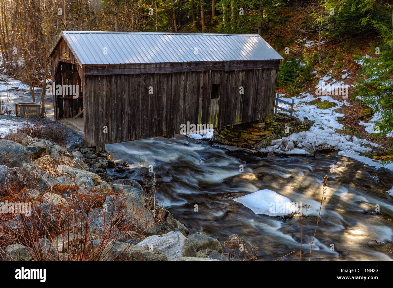 Copeland covered bridge which is listed as a national historic site in Edinburg in  the Adirondack Mountains Of New York State - Stock Image