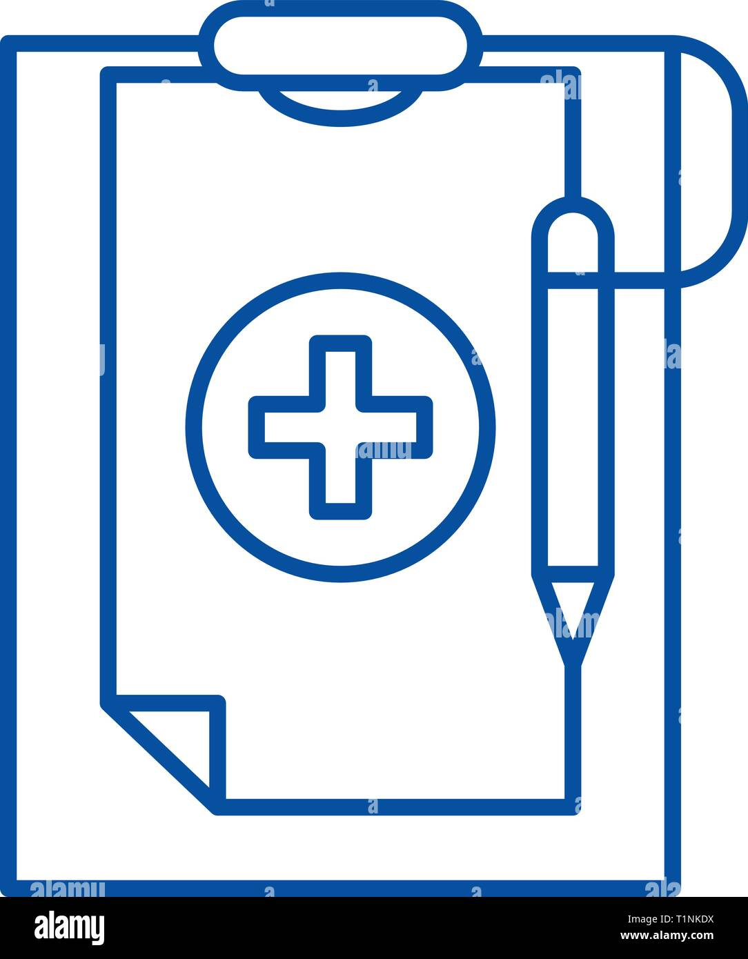 Medical diagnosis line icon concept. Medical diagnosis flat  vector symbol, sign, outline illustration. - Stock Image