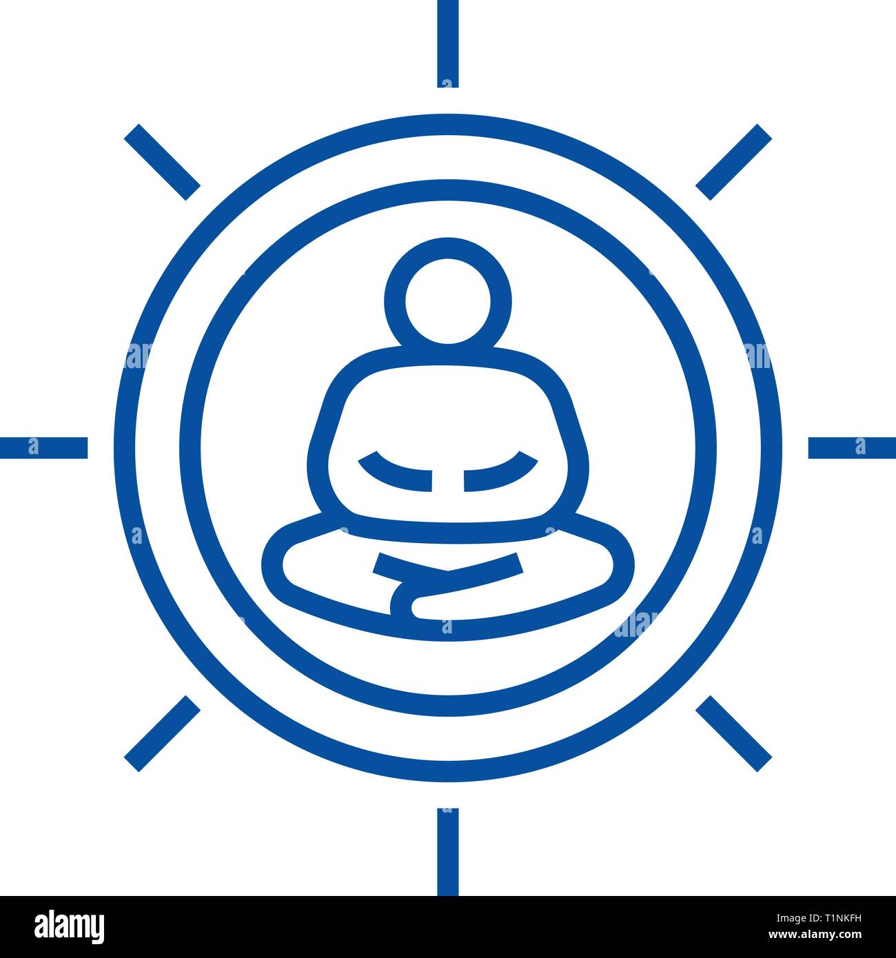 Meditation pose line icon concept. Meditation pose flat  vector symbol, sign, outline illustration. - Stock Vector