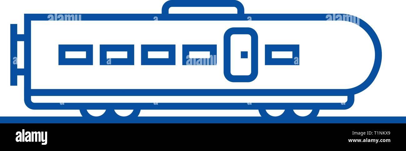 Modern train line icon concept. Modern train flat  vector symbol, sign, outline illustration. - Stock Vector