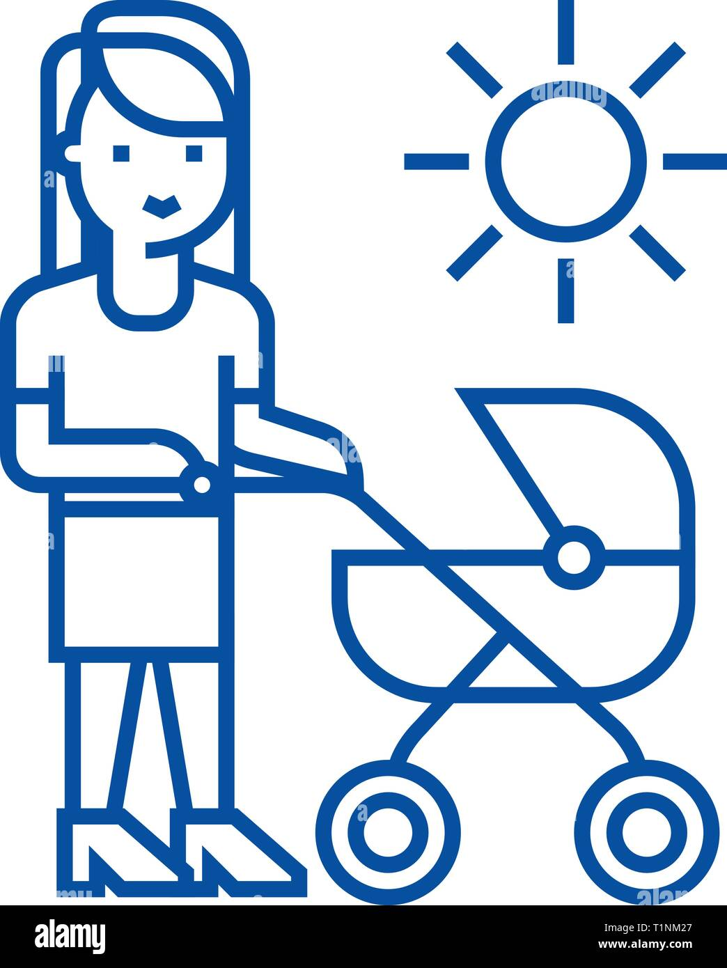 Mother with baby stroller line icon concept. Mother with baby stroller flat  vector symbol, sign, outline illustration. - Stock Vector
