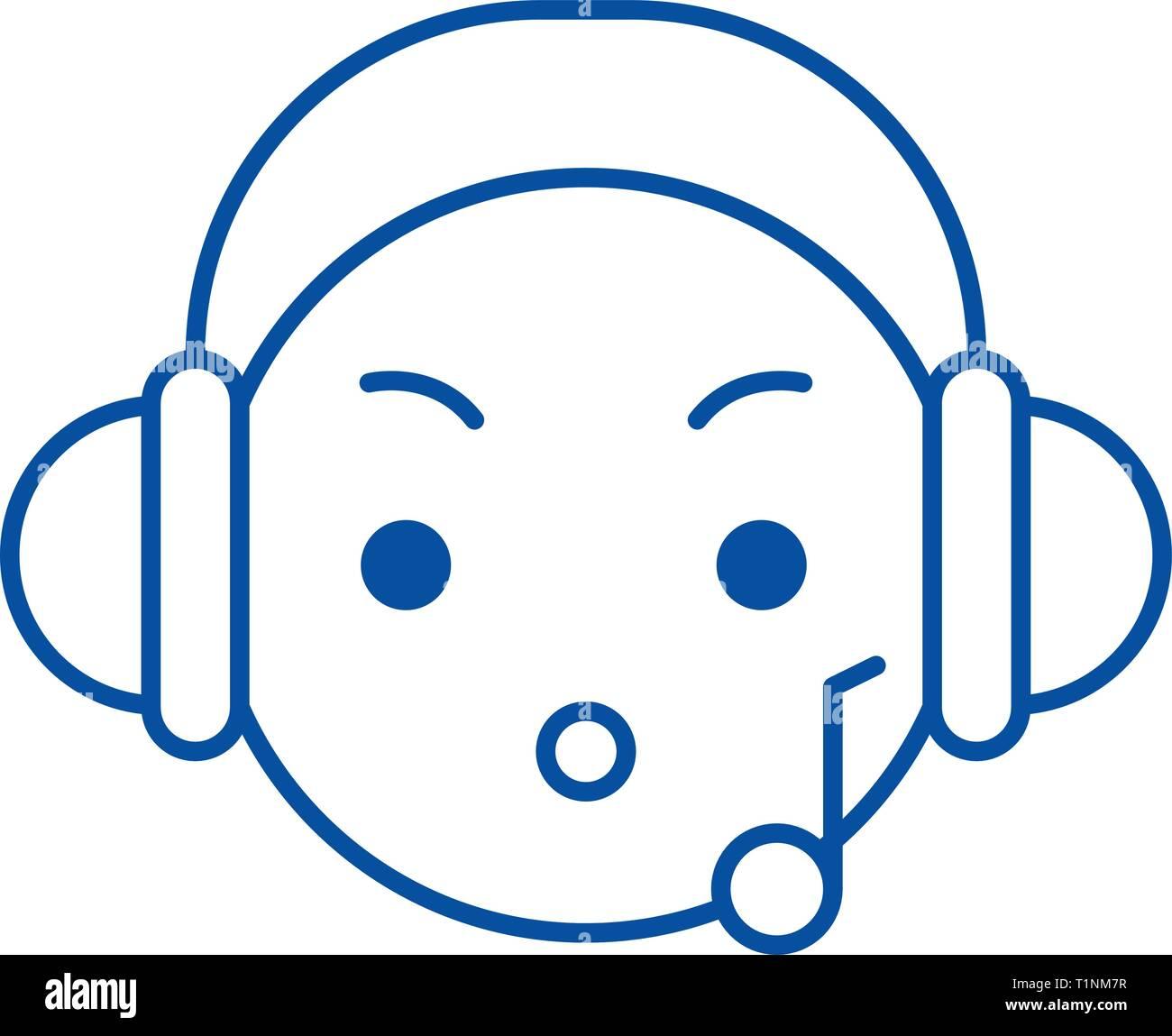 Music listening emoji line icon concept  Music listening emoji flat