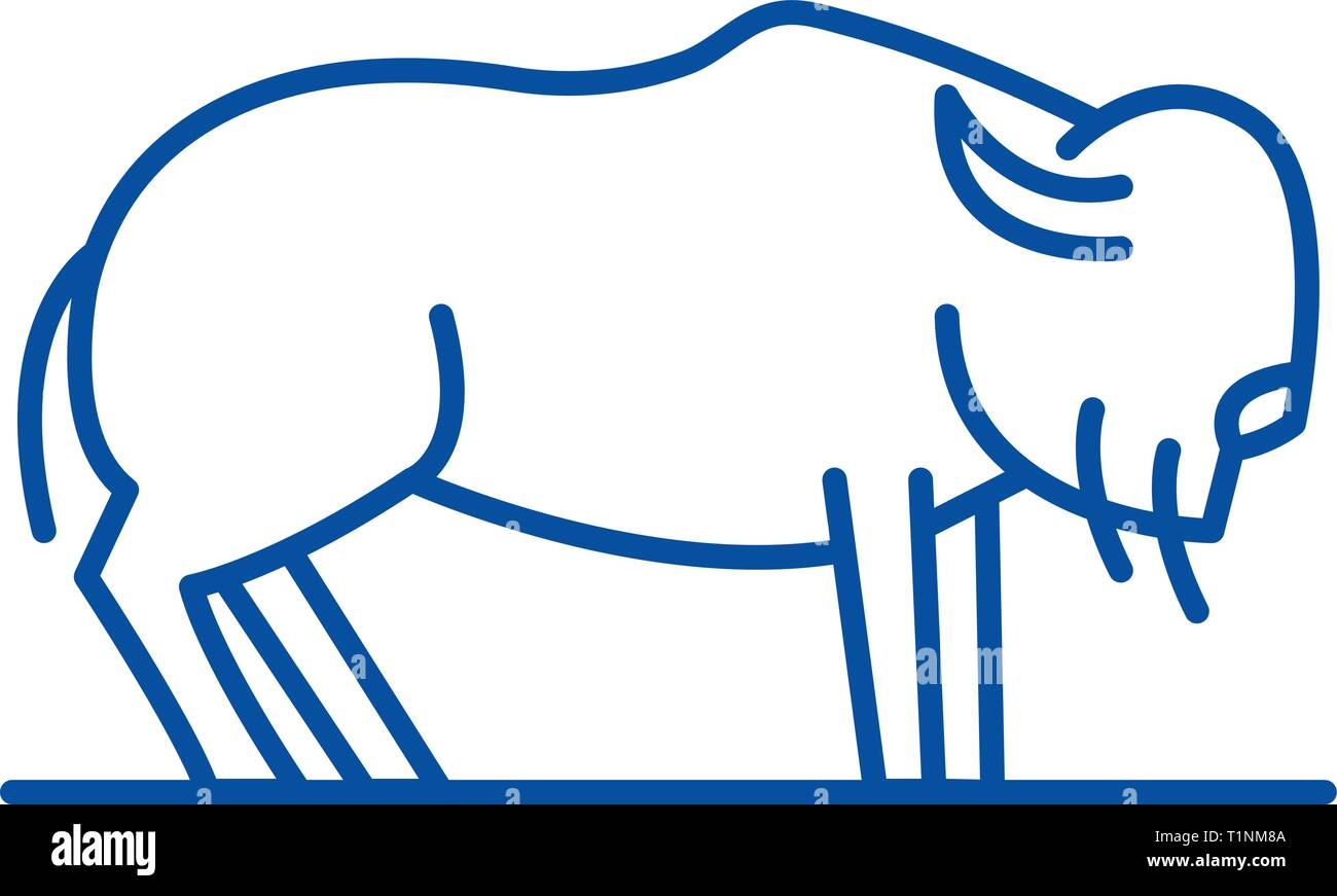 Musk ox line icon concept. Musk ox flat  vector symbol, sign, outline illustration. - Stock Vector