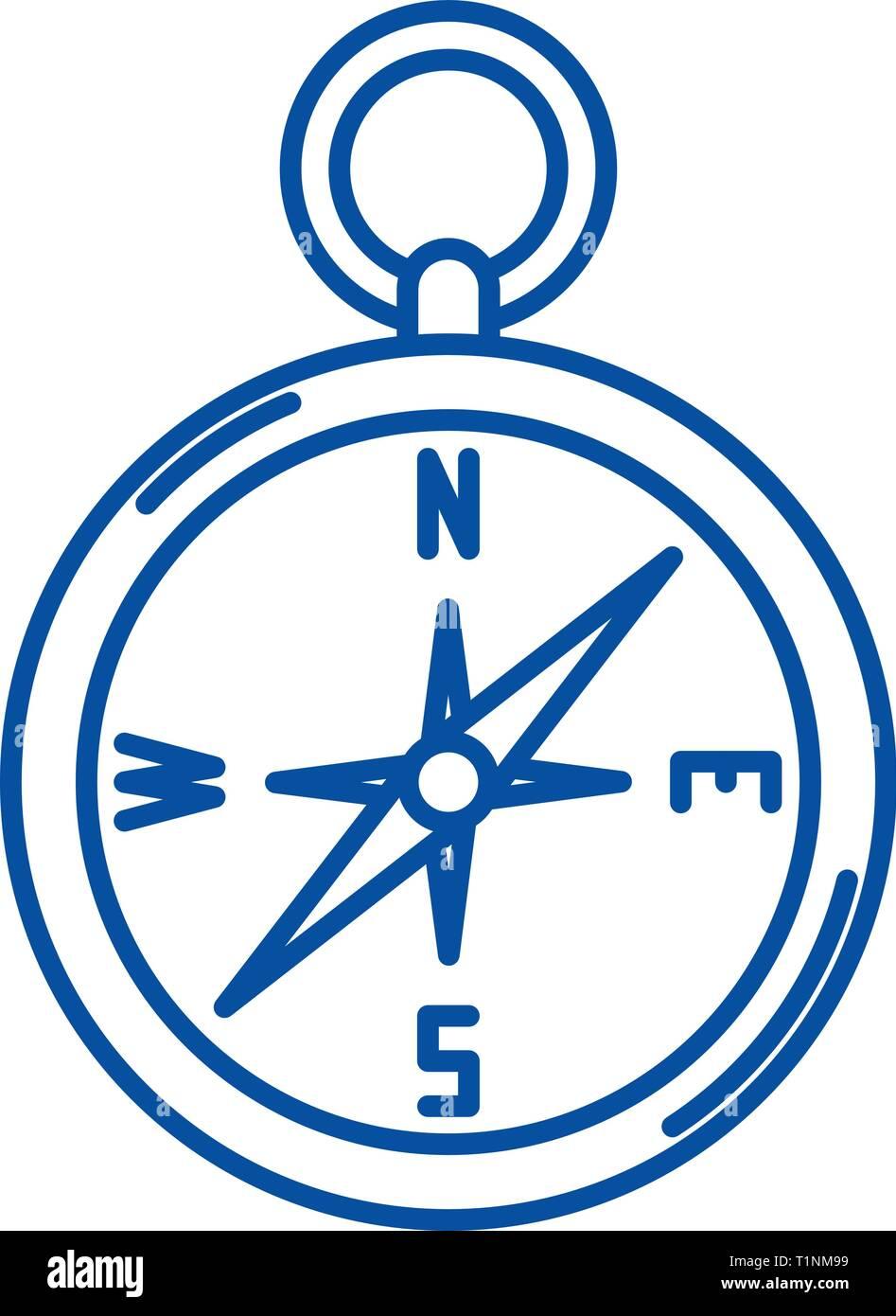Navigation compass line icon concept. Navigation compass flat  vector symbol, sign, outline illustration. - Stock Image