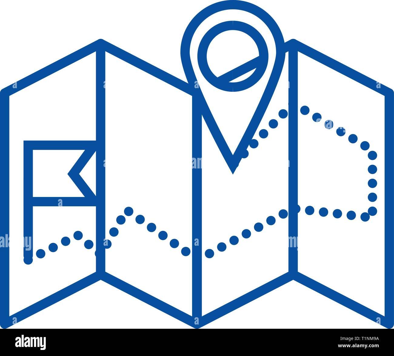 Navigation map  line icon concept. Navigation map  flat  vector symbol, sign, outline illustration. Stock Vector