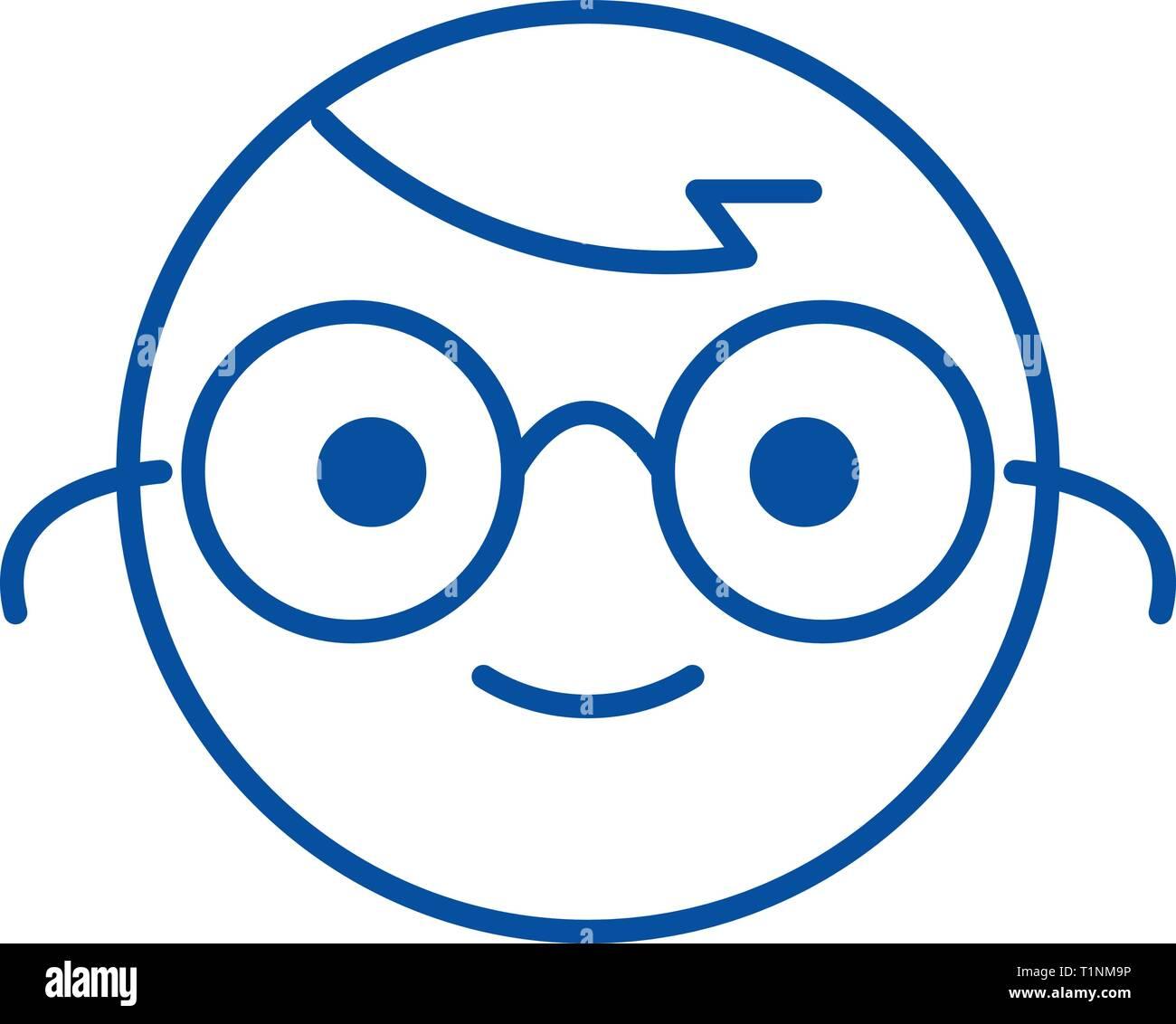Nerdy emoji line icon concept. Nerdy emoji flat  vector symbol, sign, outline illustration. - Stock Image