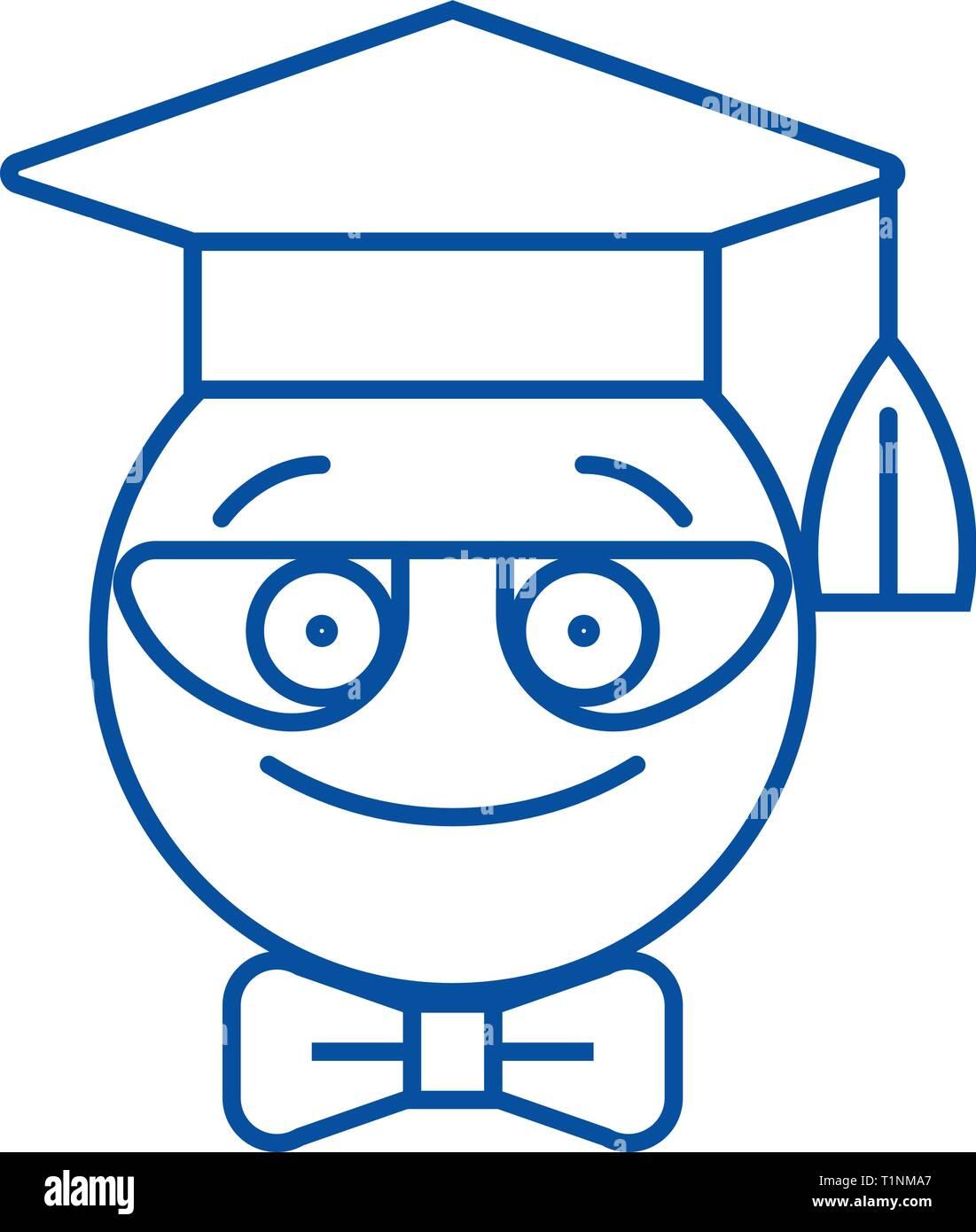 Nerdy student emoji line icon concept. Nerdy student emoji flat  vector symbol, sign, outline illustration. - Stock Image