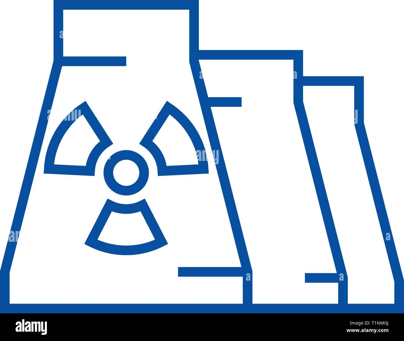 Nuclear plant line icon concept. Nuclear plant flat  vector symbol, sign, outline illustration. - Stock Vector