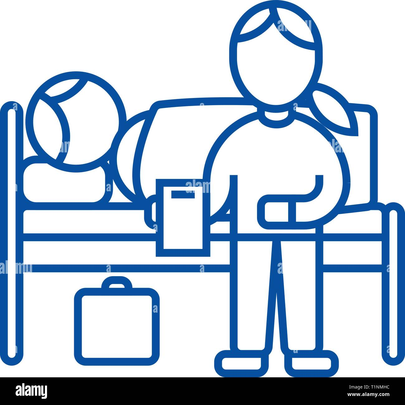 Nursery doctor with patient in hospital line icon concept. Nursery doctor with patient in hospital flat  vector symbol, sign, outline illustration. - Stock Vector
