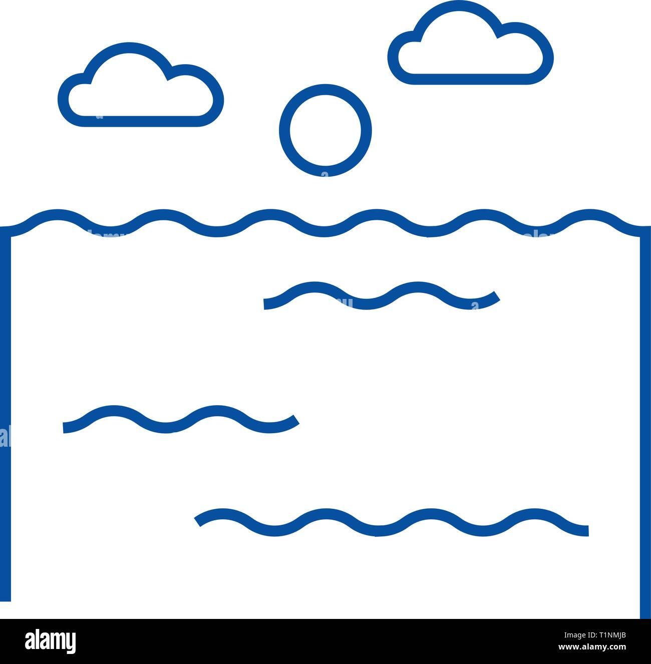 Ocean line icon concept. Ocean flat  vector symbol, sign, outline illustration. - Stock Vector