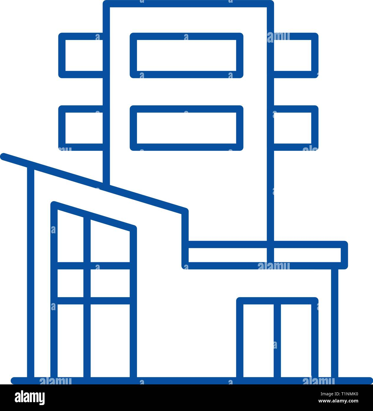 Office Building Line Icon Concept Office Building Flat Vector