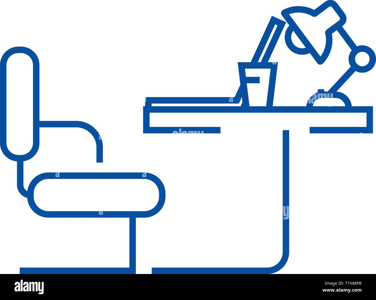 Office table line icon concept. Office table flat  vector symbol, sign, outline illustration. - Stock Vector