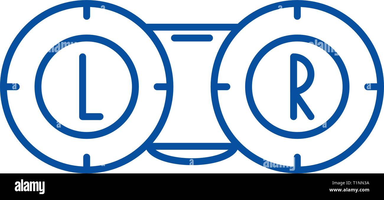 Ophthalmology line icon concept. Ophthalmology flat  vector symbol, sign, outline illustration. - Stock Image
