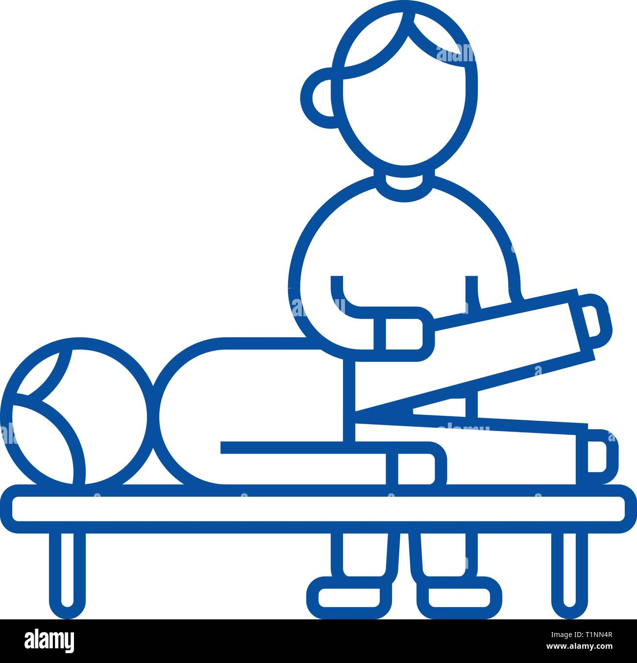 Osteopathy,manual therapy,massage line icon concept. Osteopathy,manual therapy,massage flat  vector symbol, sign, outline illustration. - Stock Vector